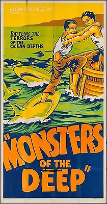 """MONSTERS OF THE DEEP 1931 3SH 3 THREE SHEET MOVIE POSTER 41"""" X 80"""" SUPER RARE!"""