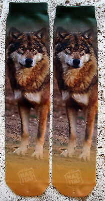 NEW WILD HABITAT UNISEX WOLF WOLVES COYOTE COLLECTIBLE SUBLIMATION SOCKS