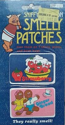 1981 Vintage CTP Sniffys Iron on Smelly Patches Strawberry Gingerbread Sealed