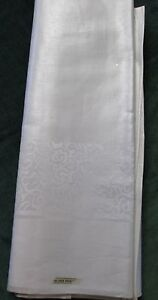 Antique Irish Linen Double Damask Large Tablecloth Roses & Vines Unused w/ Label