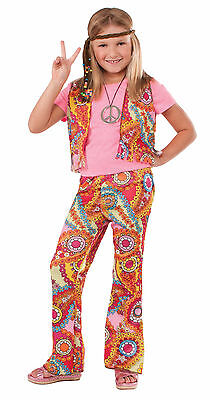 Kids Hippie Girl Costume 60's 70's Flower Power Vest & Pants Size Small - Flower Power Girl Costume
