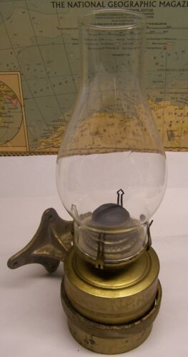 Nice Antique N.P.R.  Kerosene Lamp with Wall Bracket - Northern Pacific Railroad