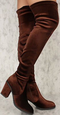 Thigh High Over The Knee Faux Velvet Chunky Block High Heel Slip On Closed Boots Chunky Heel Thigh High Boots