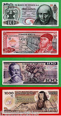 RARE Set of 4, 1980s Mexican Notes 10, 20, 100, and 1000 Pesos, UNC + FREE BONUS