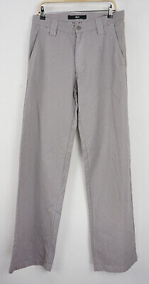 Billy Los Angeles Men's 32 x 36 Gray Twill Cotton Flat Front Casual Trousers