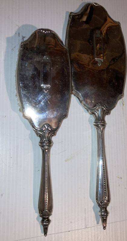 """Antique Webster Sterling Silver 13"""" Hand Mirror And 10"""" Brush Set"""