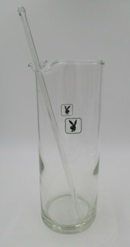 PLAYBOY GLASS MARTINI COCKTAIL PITCHER DECANTER CARAFE & STIR STICK BUNNY LOGO