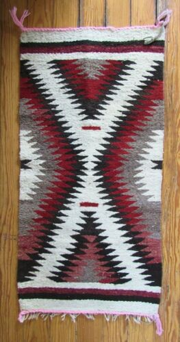 Navajo Indian Hand Woven Eye Dazzler Storm Pattern Rug Wall Hanger Textile Weave