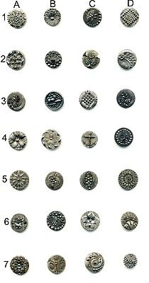 Choose ONE - Small Antique Black Glass Button with Silver Luster…My Best Ones!
