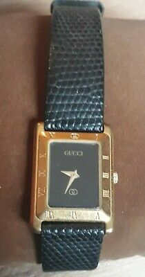 Vintage Gucci Gold Plated Women's Watch Rectangular Face Black Lizard Strap 4200