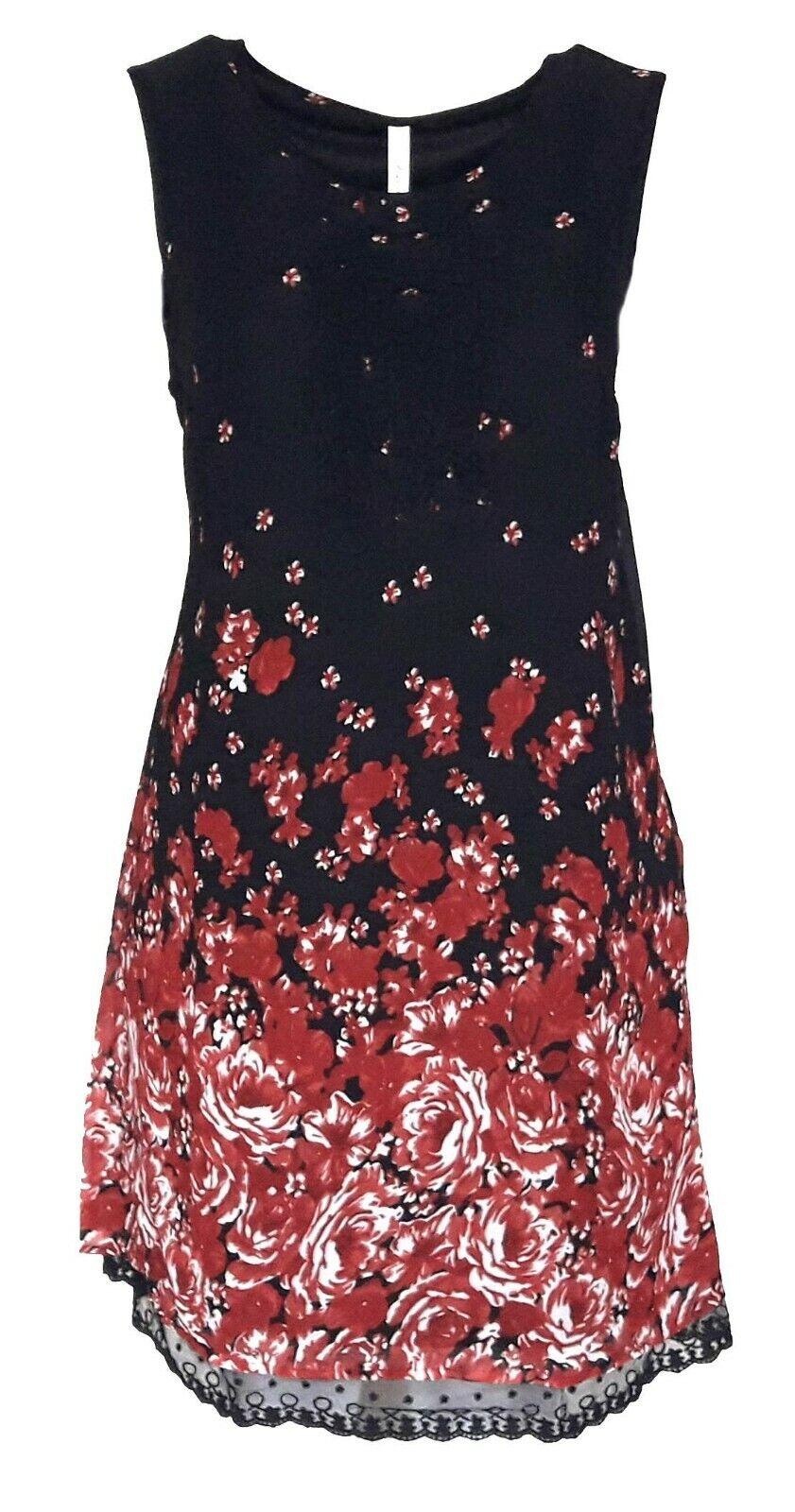 SHEEGO Damen Chiffon Kleid schwarz Blumen GR. 40 42 44 46 48 50 52 NEU - K136