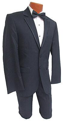 Men's Navy Blue Jean Yves Savoy Tuxedo with Pants Formal Wedding Mason Prom  ()