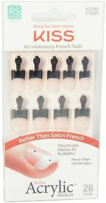 KISS Salon Acrylic French Nail Kit, Real Short Length 28 ea