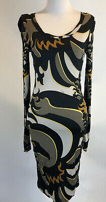 EMILIO PUCCI Woman's SZ 10 Long Sl Printed Stretchy Dress New