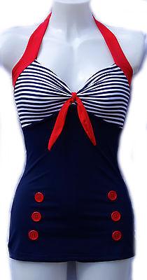1950s Pin Up Girl Blue Stripe Navy Vintage Swimming Costume 10 12 14 16 18 20