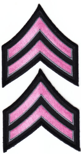 """CPL Corporal Chevrons PINK & GREY on BLACK 3"""" X 3.5 police/sheriff BREAST CANCER"""