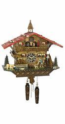 Quartz Cuckoo Clock Swiss house with music, turning dance.. TU 4267 QMT HZZG NEW