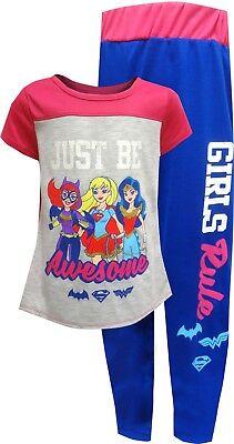 NWT DC Comics Superhero Girl Supergirl Wonder Woman Top Pants Pajama Set M 7 8