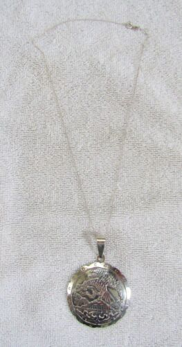 Sterling Silver Mexico Mexican Pendant & Necklace Chain Condor Bird & Snake