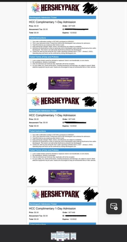 Four (4) Hersheypark Passes - One Day Admission (Spring/Summer) - 2021
