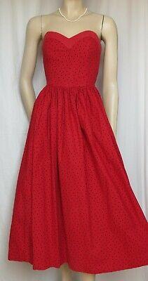 Rot Polka Dot Baumwolle Kleid (Laura Ashley Kleid 34 36 Punkte polka dots Hochzeit rot schwarz vintage Sommer)