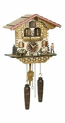 Quartz Cuckoo Clock Swiss house with music, turning dance.. TU 4223 QMT HZZG NEW