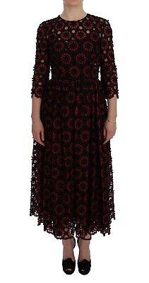 Dolce & Gabbana Vestido Rojo Floral Ricamo a-Line Cambio IT40/US6/S