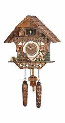 Quartz Cuckoo Clock Black forest house with music, wood-cut.. TU 468 QM HZZG NEW