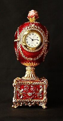 """St Petersburg Russian Faberge Egg: Clock with a Flower Music Box, 5.2"""" for sale  Shipping to United States"""