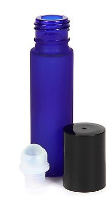 Bulk Lot - 432, 10 ml Frosted Cobalt Blue Glass Roll-on Bottles with 72 Droppers