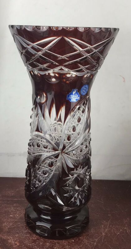 "Large Vintage Ruby Crystal Vase Russia 12"" Tall"