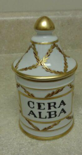 Vintage French Pharmacy Apothecary Jar Cera Alba Beeswax Henri Bendel