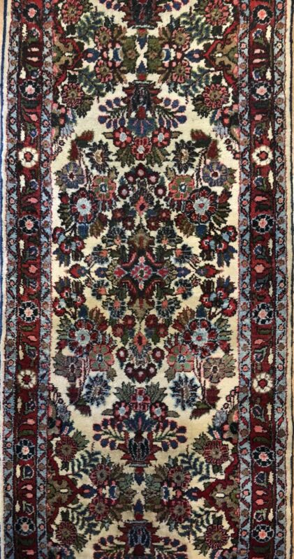 Delightful Dergazine - 1920s Antique Floral Rug - Oriental Carpet 2.10 X 21.6 Ft