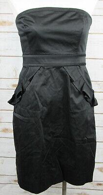J Crew Factory Black Strapless Cocktail Dress sz 6 Ruffle Scoop Pockets #41644