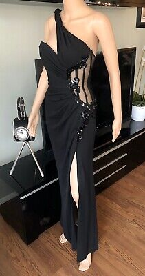 Versace Embellished Bustier Sheer One Shoulder Black Evening Dress Gown IT 40