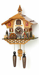 cuckoo clock black forest quartz german  music  moving walker new battery wood
