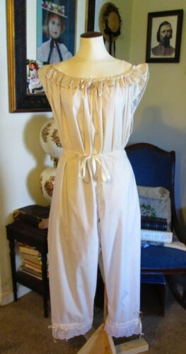 CIVIL WAR DRESS VICTORIAN UNDERPINNINGS IVORY COTTON CROTCHLESS PANTALETTS~PLUS
