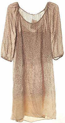 TIBI Brown 3/4 Sleeve Polka Dot Silk Sheath Dress Size 4