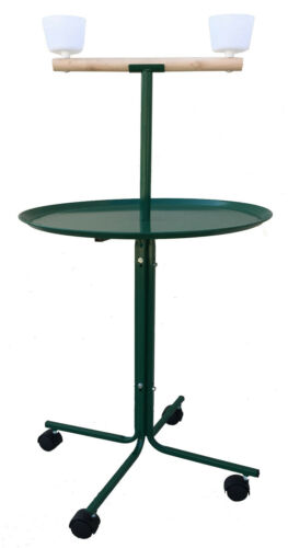 Large Play Stand Perch Metal Base Cups Wheel Parrot African Grey Macaw Cockatoo