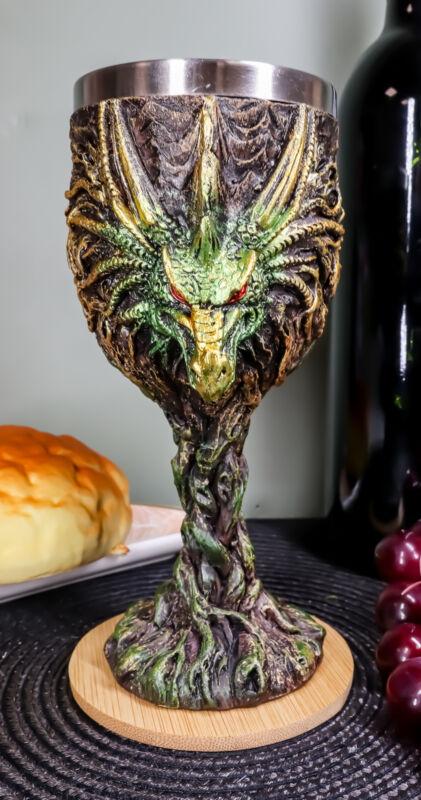 Ebros Dryad Greenman Earth Dragon 5oz Wine Goblet Chalice Cup Fantasy Decor