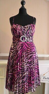 Kleid Cocktailkleid Plissee Falten Zebra pink magenta Party 36 38 S ()