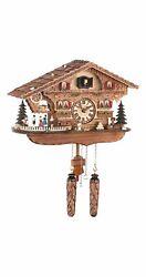 Quartz Cuckoo Clock Swiss house with music, turning dancer.. TU 476 QMT HZZG NEW