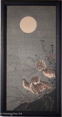 Rare Aoki Seiko Japanese Woodblock, Birds in the Moonlight, Signed & Nice!