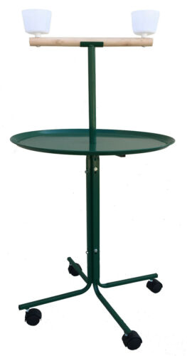"""Large 46"""" Parrot Play Stand Perch Cups Metal Base African Grey Macaw Cockatoo GN"""