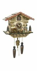 Quartz Cuckoo Clock Black Forest house with moving beer drinker.. TU 4222 QM NEW