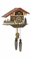 Quartz Cuckoo Clock Swiss house, turning dancers TU 457 QT NEW