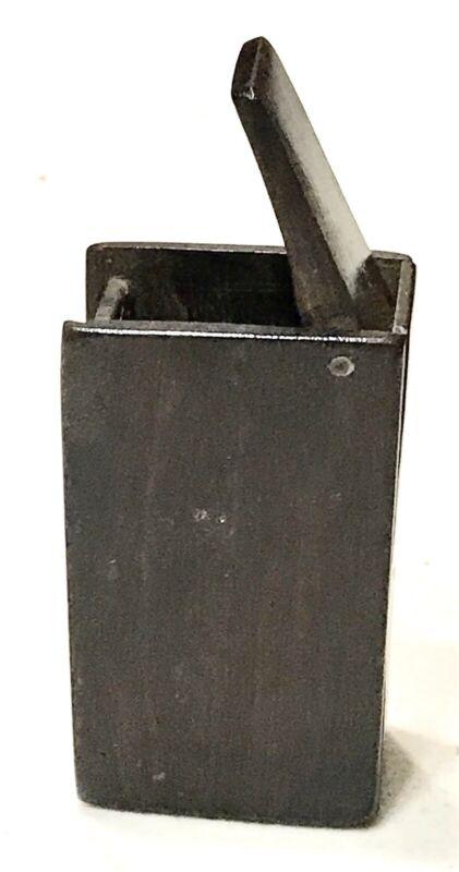 Antique Vintage 1800' Carved Wood Vesta Match Safe Case Holder Old China Object