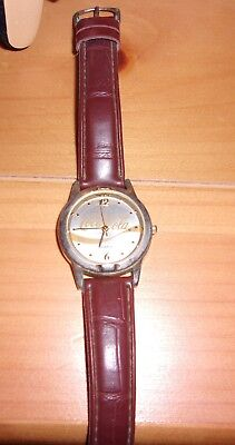 2003 GOLD TONE COCA COLA WATCH BROWN LEATHER WATCH BAND ORIG OWNER NEED BATTERY