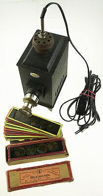 Original Vedes Laterna magica Projektor mit 33 Dias, um 1900