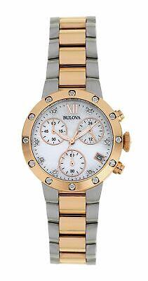 Bulova Ladies Two Tone Diamond Set Chronograph Watch.